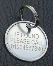 Engraved Key Ring ID Lost Found Keys Tag Contact Suitcase Keyring Disc Luggage