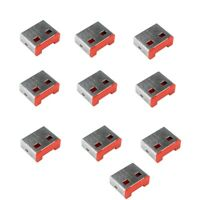 Data Theft USB Port Blockers/Locks (without Key) - Pack of 20 locks - Red