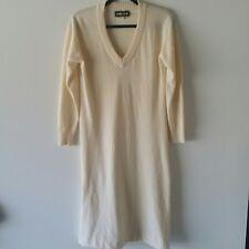 Vintage Pierre Ancel Long Sleeve V Neck Sweater Dress Sz 12 100% Cashmere Beige