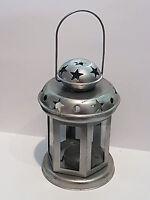 Laterne / Leuchte silber Stern Metall Windlicht / Teelichthalter Deko zum Hängen