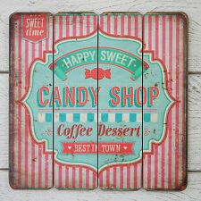 Retro Vintage Wooden Plaque Pink Stripe Candy Shop Coffee Dessert Store Sign