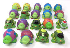 """Lot Of 19 Assorted Holidays 2"""" Tall Rubber Turtles Oriental Trading - Vintage"""