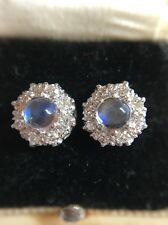 Vintage 18ct White Gold Diamond Moonstone Cluster Earrings Extremely Pretty
