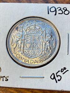 1938 CANADA 50 CENTS.. AU..