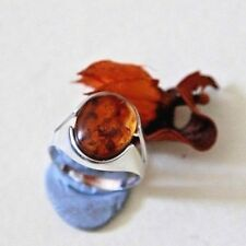 UK made large solid sterling silver signet ring eye catching amber gemstone  V