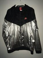 Nike Windrunner Windbreaker Black/Silver Foil Ripstop Nylon Hooded Jacket XL