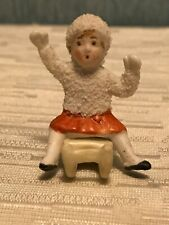 Antique German Snowbaby Snow Baby On Sled 1.5� tall