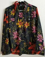 Chico's Floral Print Blouse size 3 Reg XL Semi-Sheer Long Sleeve Button Down Top