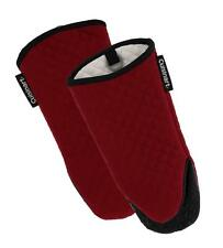Cuisinart Silicone Oven Mitts/Gloves Non-Slip Grip Hanging Loop Red Dahlia, 2pk
