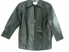 Leather Jacket women 3/4 sleeve coat Cherokee size L Black soft pliable Lined