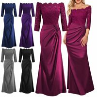 Long Lace Evening Formal Party Cocktail Ball Gown Prom Bridesmaid Dress UK 6-18