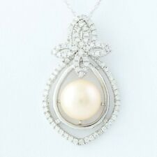 """New Flower Pink Pearl Pendant Necklace Cultured CZ Sterling Silver 18"""" Celine F"""