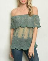 Women's Crochet Lace Off The Shoulder Ruffle Boho Teal Blouse Shirt Top Dress M