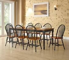 9 Piece Dining Set Farmhouse Table with Leaf and 8 Windsor Chairs Black & Oak