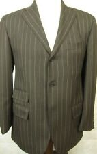NEW Ralph Lauren Polo Made in Italy Brown Stripe 3Button Suit 38R 32W Flat Front