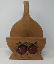 Handmade Wooden Paper Plate Holder Farm Kitchen Serving Apple Decor Country