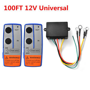 Universal 100ft 12V Wireless Winch Remote Control Switch Handset for Car ATV SUV