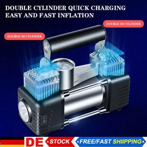 150PSI Auto Reifen Kompressor Elektrische Luftpumpe Doppelzylinder Druckluft LED