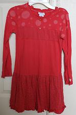 Naartjie Vintage Kitties Sz 7 Xl Dress Long Sleeve Pink Red Fall 2009 Guc