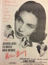 Madame Bovary, Jennifer Jones, Full Page Vintage Promotional Ad