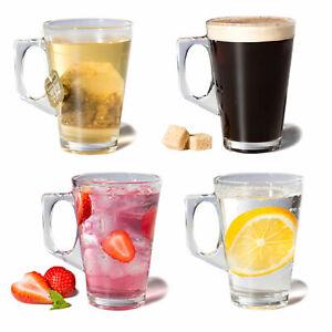 Set of 4 Latte Glasses Tea Coffee Cappuccino Glass Hot Drink Mugs
