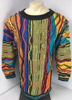 RARE 90s Vtg COOGI Australia NEON-BIGGIE-MCGREGOR sweater EUC FIRE M VAPORWAVE