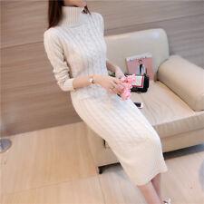 Women's Long Sleeve Turtleneck Knit Sweater Dress Pullover Knitwear long Blouse