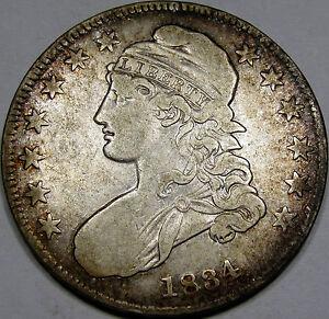 1834 O-112 Capped Bust Half Dollar Nice EF Coin... Hair Lip Variety, Album Tone!