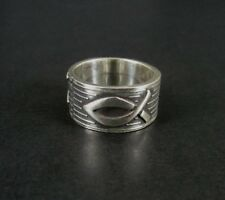 Taxco with Fish and Star Wide Band Mexico Sterling Silver 925 Ring Size 7 1/4