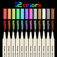 Metallic Marker Pens-12 Assorted Colors-Fine Tip-Great for Scrapbooking & Crafts