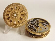 Verge fusee quarter repeater pocket watch movement with solid 18 Kt gold dial.