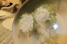 """Beautiful antique wurttemberg 81/2"""" plate  white roses on green painted gold"""