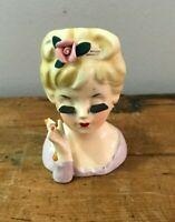 Vtg Mid Century Retro 60s 1961 Inarco Japan Lady Head Ceramic Vase Woman BROKEN