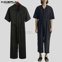Fashion Mens Summer Short Sleeve Jumpsuit Cool Loose Romper Long Trousers Pants