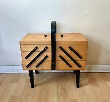 Vintage Wooden Concertina Sewing Box On Legs