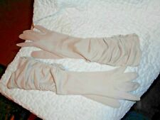 "Ladies Beige Fabric Dress Gloves Unbranded Size 7 - 16"" Long Dressy Ruched Euc"