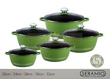 GREEN 5PC NON STICK CERAMIC COATED DIE-CAST CASSEROLE SET INDUCTION COOKWARE