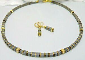2er Schmuckset Halskette Ohrringe Perlen Hämatit schwarz Strass gold 066k