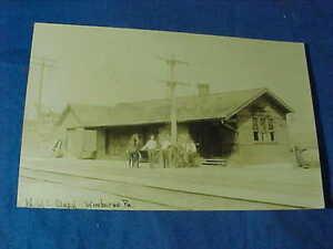 1909 NY CENTRAL Railroad DEPOT Real Photo POSTCARD Winburne Pa