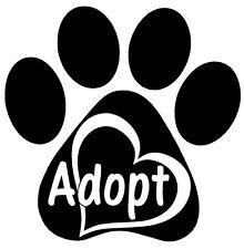 ADOPT PAW HEART Vinyl Decal Sticker Window Wall Bumper Animal Dog Cat Love Pet