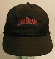 Old Vintage 1990s Jim Beam Whiskey BLACK NYLON SNAPBACK TRUCKER HAT CAP HIPSTER