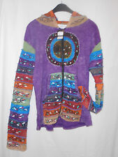 Multi colour ethnic, festival hooded jacket with overlocking detail SALE