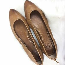 $198 FRYE REGINA BALLET LEATHER OIL RUBBED DISTRESSED COGNAC POINTY, SIZE 7.5