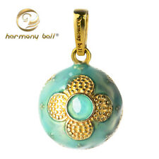 Harmony Ball Light Blue Flower Painting Mexican Bola Silver Sealed Sound Pendant