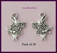 20 Antique Silver Colour 20 x 15mm Alice in Wonderland White Rabbit Charms