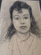 Edouard GOERG-Dessin original-fusain-portrait femme--atelier drawing