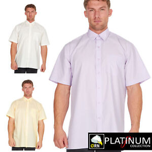 Mens Short Sleeve Shirts Button Down Collar Casual Plain Summer Formal Easy Care