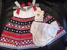 Bonnie Jean Baby Girls Seersucker Red White Blue Americana Dress 12M