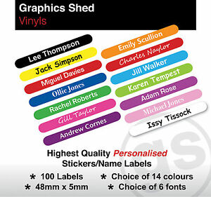 100 PERSONALISED KIDS STICK ON NAME LABELS STATIONERY STICKERS SCHOOL WATERPROOF