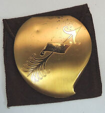 ELGIN AMERICAN Heart Compact RARE Design Engravable w/ Sheath Gold Tone Empty